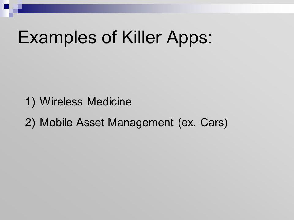 Examples of Killer Apps: 1)Wireless Medicine 2)Mobile Asset Management (ex. Cars)