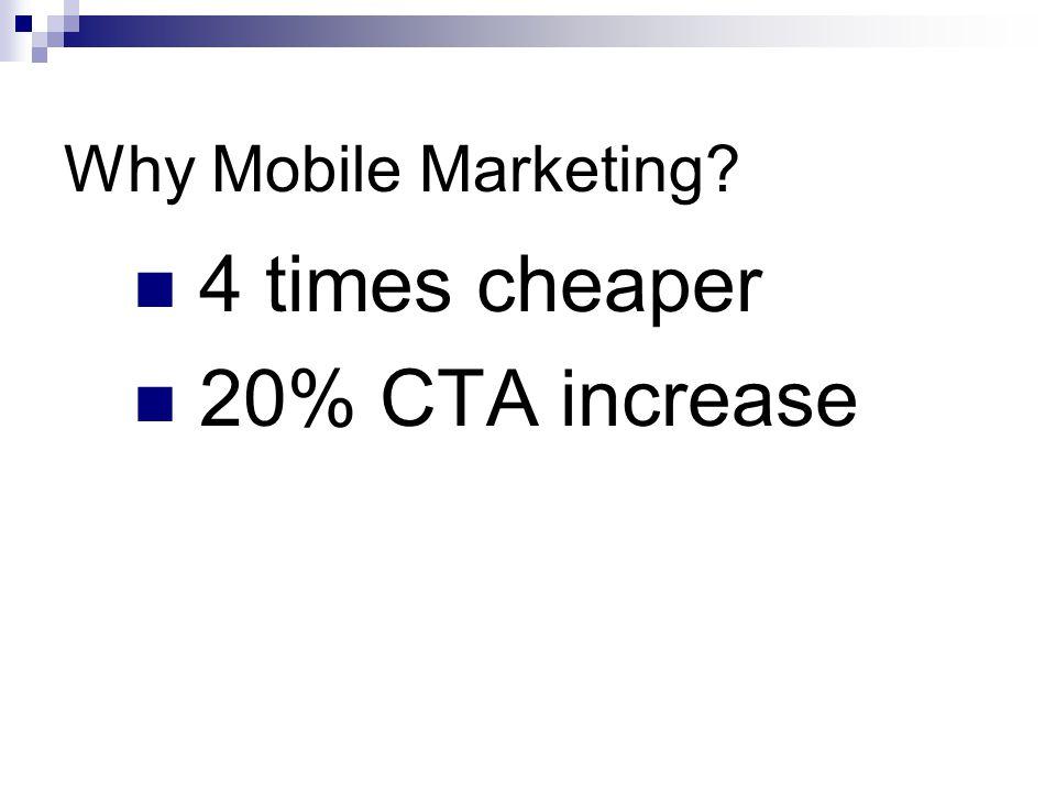 Why Mobile Marketing? 4 times cheaper 20% CTA increase