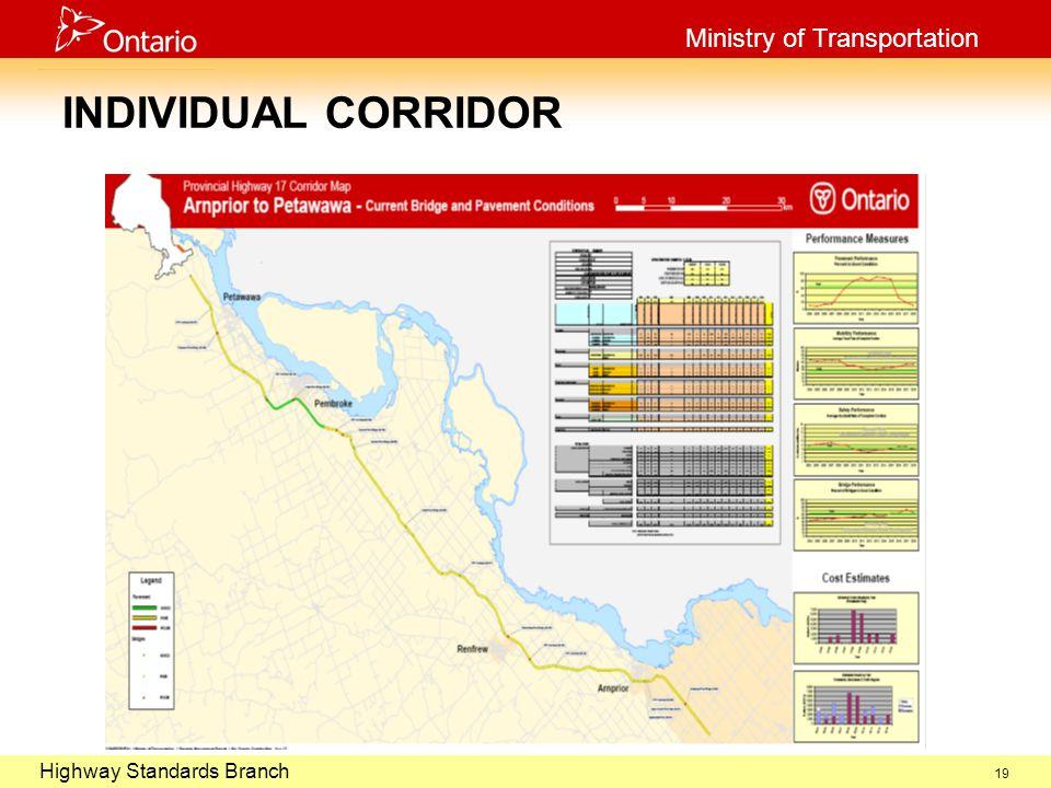 October 29, 2003 Highway Standards Branch Ministry of Transportation 19 INDIVIDUAL CORRIDOR