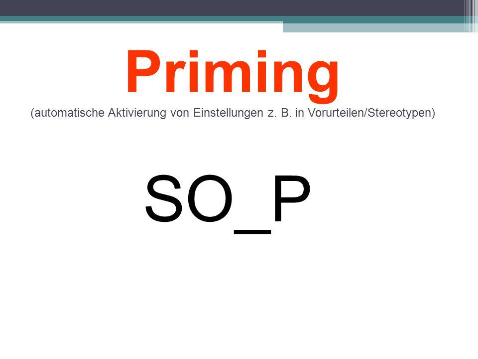 SO_P Priming (automatische Aktivierung von Einstellungen z. B. in Vorurteilen/Stereotypen)