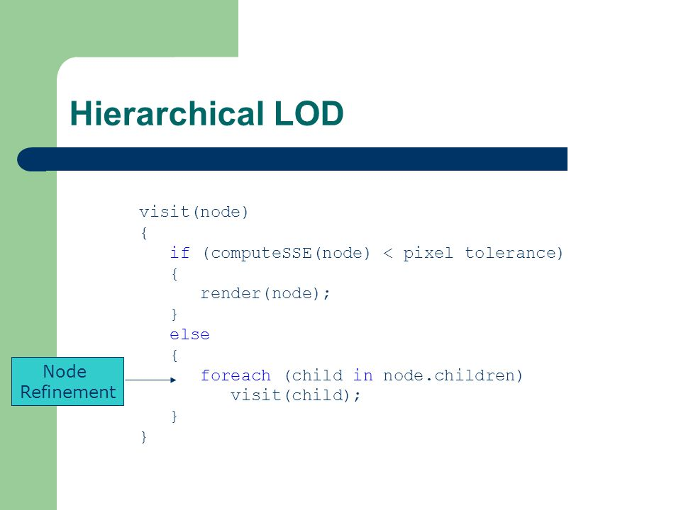 Hierarchical LOD visit(node) { if (computeSSE(node) < pixel tolerance) { render(node); } else { foreach (child in node.children) visit(child); } Node Refinement