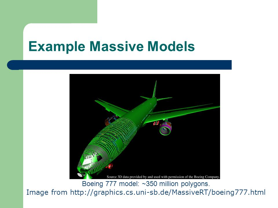 Example Massive Models Boeing 777 model: ~350 million polygons.