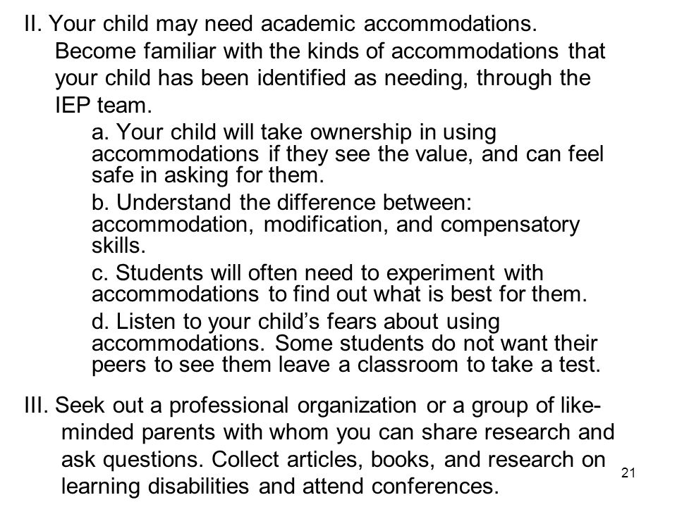 22 IV.Include your child in the development and implementation of their IEP or 504 plans.