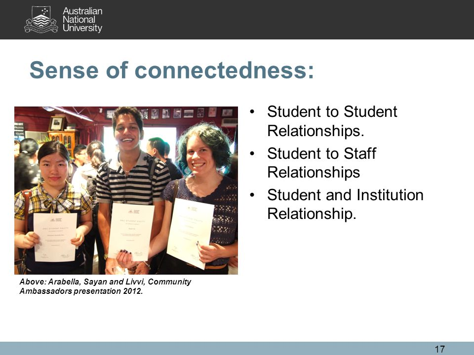 Sense of connectedness: Student to Student Relationships.