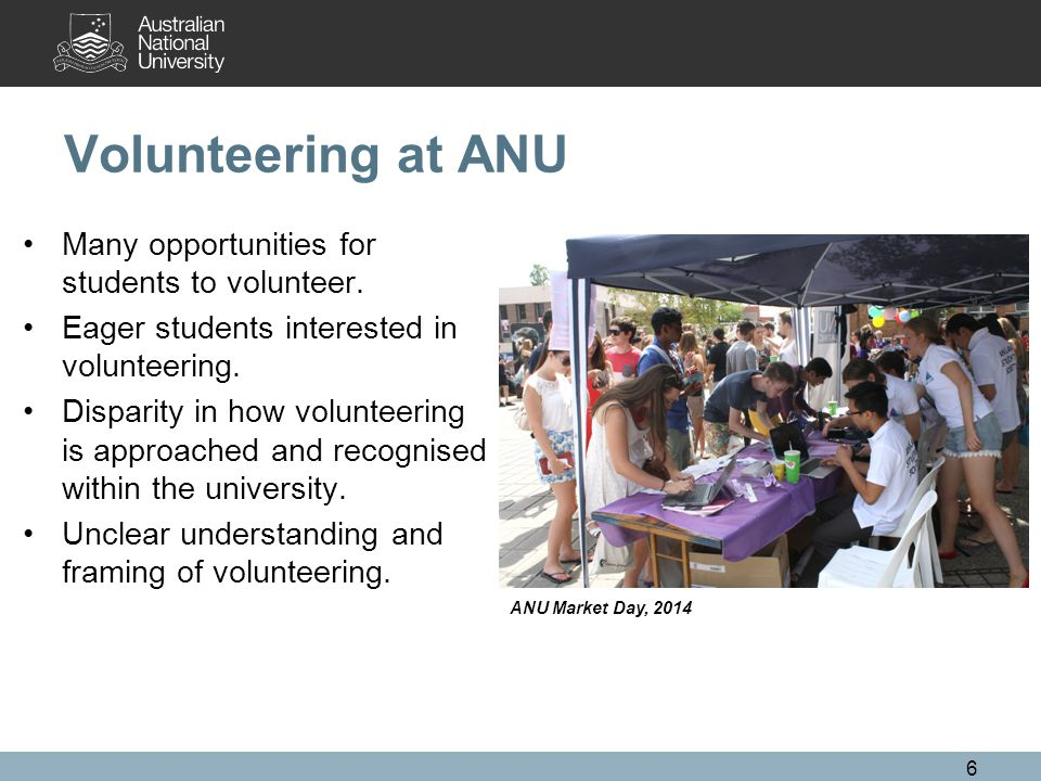 Volunteering at ANU Many opportunities for students to volunteer.