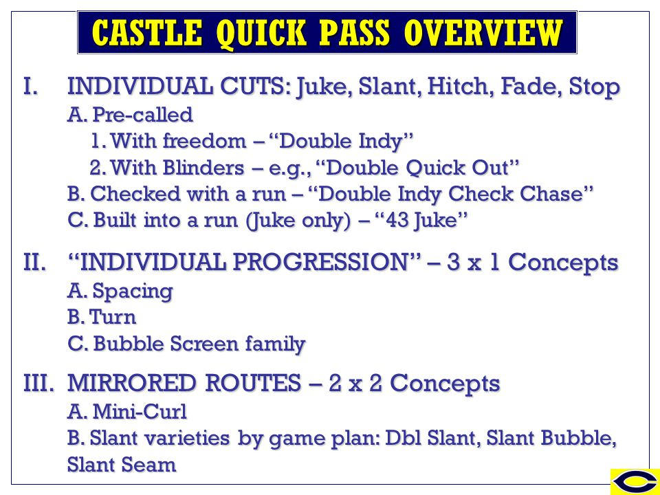 Updates to the Quick Passing Game Q MAX Andrew Coverdale – Head Coach – Castle High School Shared_responsibility@yahoo.com I. 3 x 1 Thought process3 x