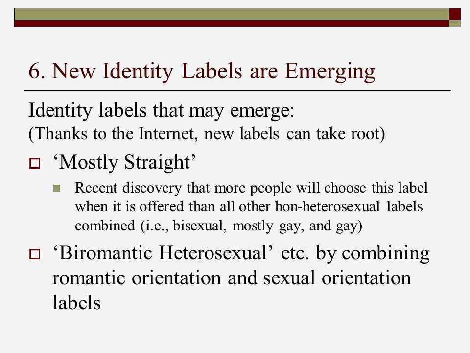 6. New Identity Labels are Emerging Identity labels that may emerge: (Thanks to the Internet, new labels can take root)  'Mostly Straight' Recent dis