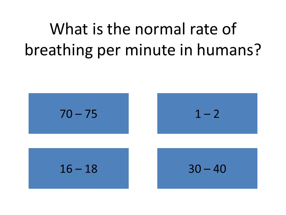 What is the normal rate of breathing per minute in humans 70 – 751 – 2 16 – 1830 – 40