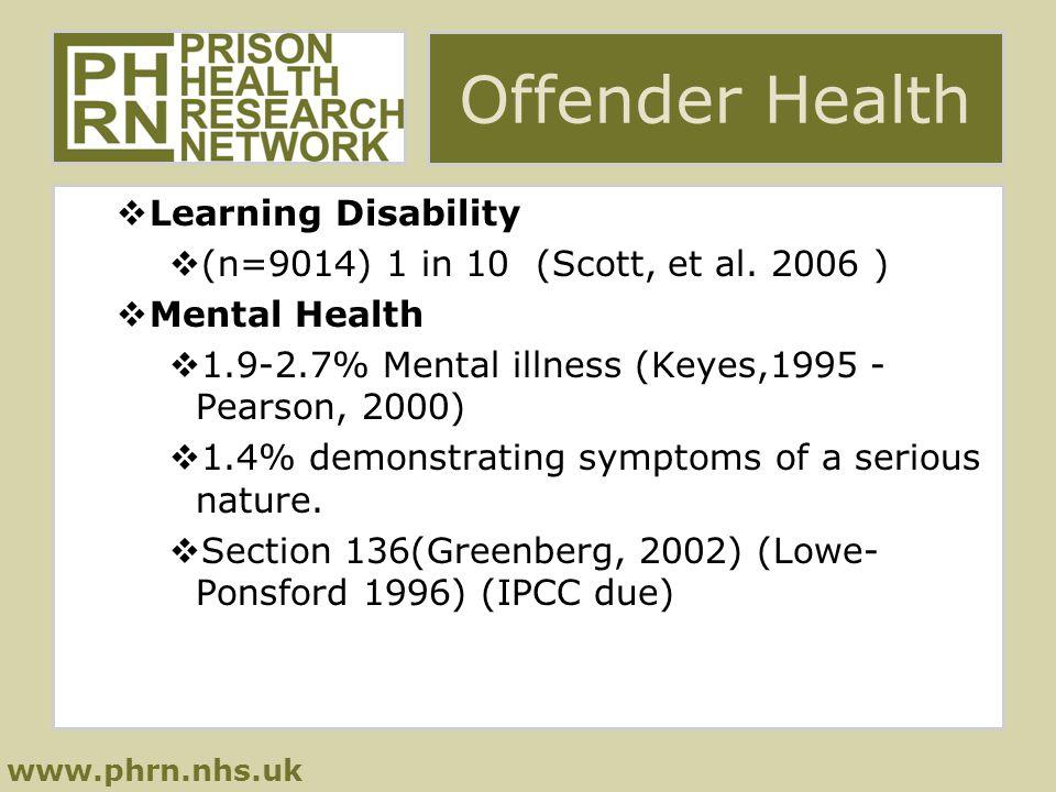 www.phrn.nhs.uk Offender Health  Learning Disability  (n=9014) 1 in 10 (Scott, et al.