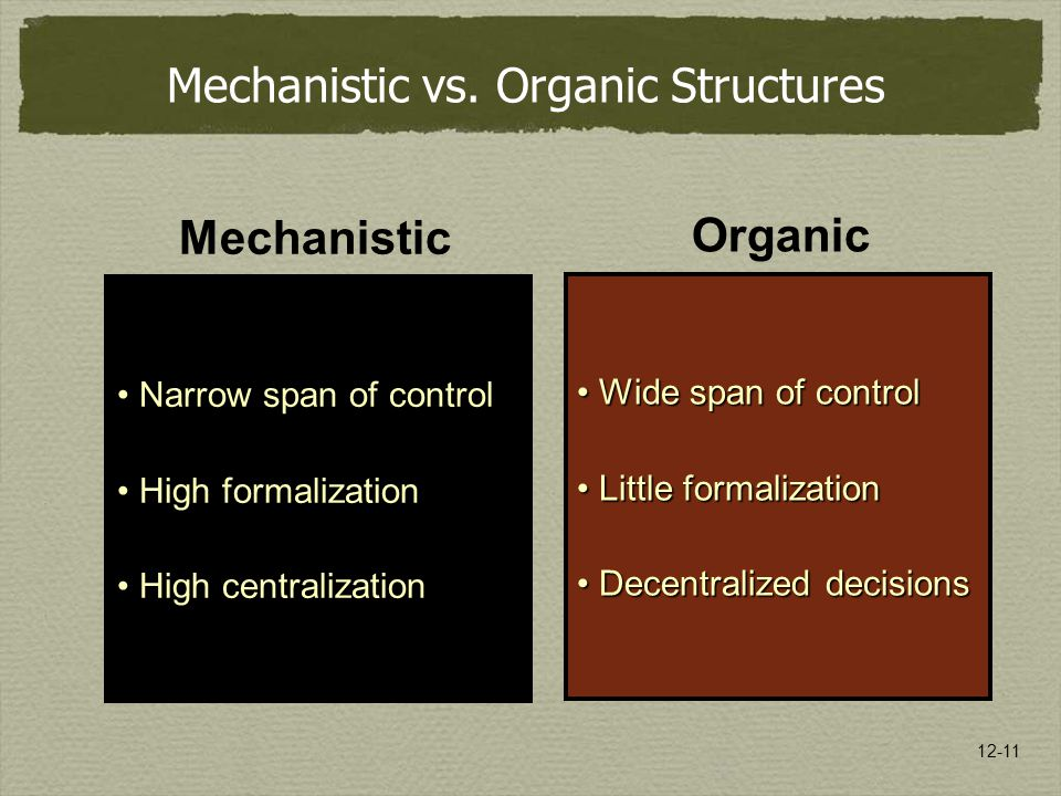 12-11 Mechanistic vs. Organic Structures Mechanistic Narrow span of control High formalization High centralization Organic Wide span of controlWide sp
