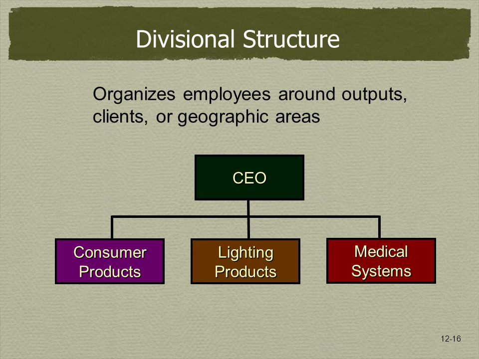 12-16 Organizes employees around outputs, clients, or geographic areas Divisional Structure CEO ConsumerProductsLightingProducts MedicalSystems