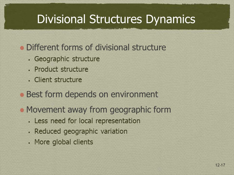 12-17 Divisional Structures Dynamics Different forms of divisional structure  Geographic structure  Product structure  Client structure Best form d