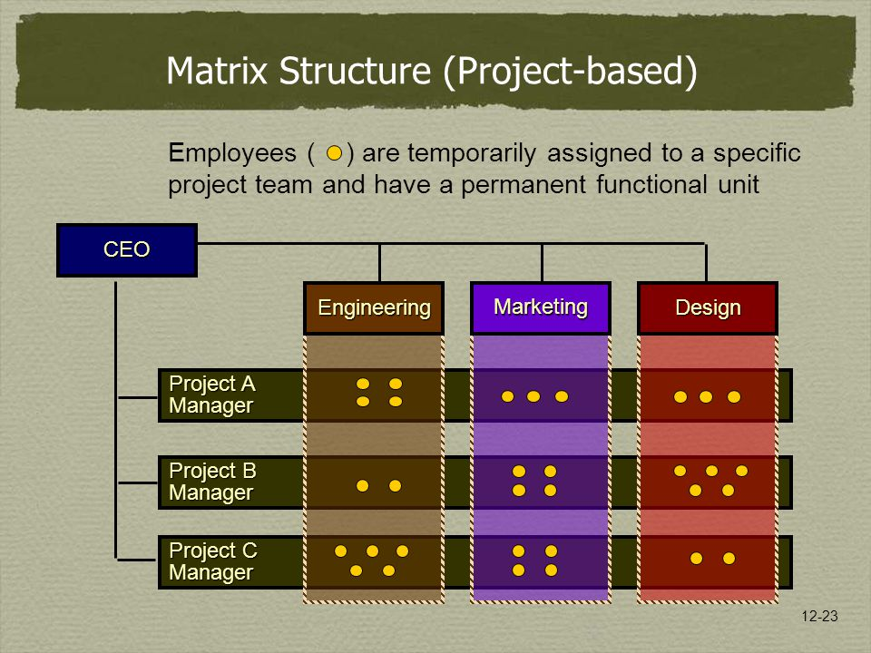 12-23 Project C Manager Project B Manager Project A Manager EngineeringMarketingDesign Matrix Structure (Project-based) CEO Employees ( ) are temporarily assigned to a specific project team and have a permanent functional unit