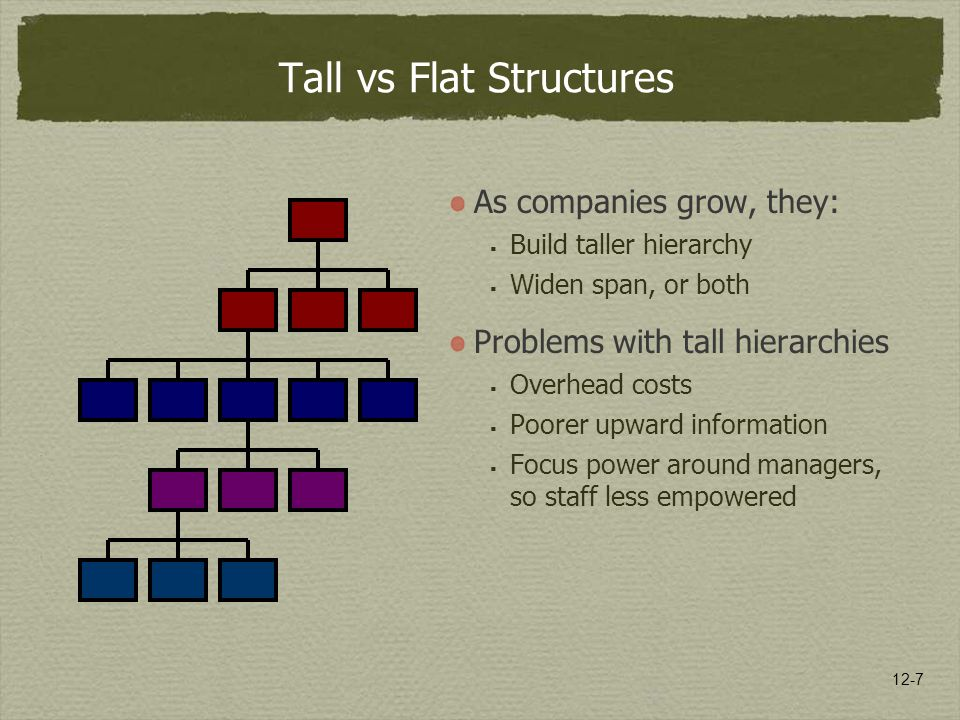12-7 Tall vs Flat Structures As companies grow, they:  Build taller hierarchy  Widen span, or both Problems with tall hierarchies  Overhead costs 
