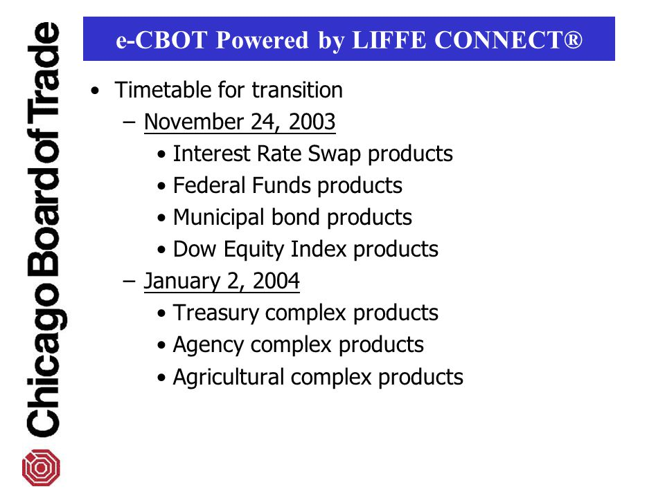 Timetable for transition –November 24, 2003 Interest Rate Swap products Federal Funds products Municipal bond products Dow Equity Index products –January 2, 2004 Treasury complex products Agency complex products Agricultural complex products