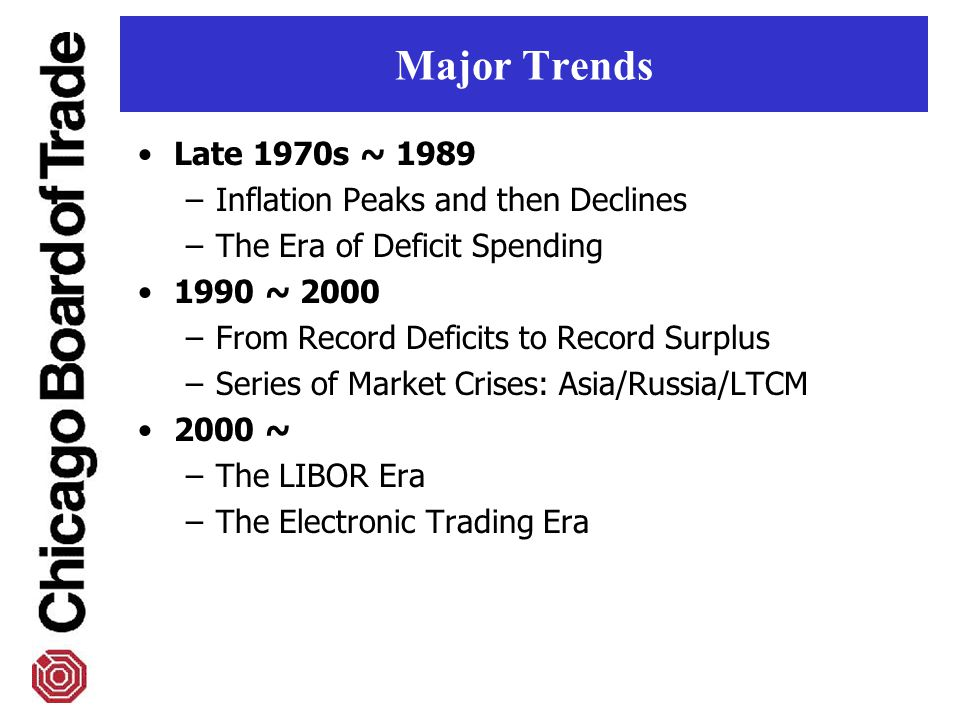 Major Trends Late 1970s ~ 1989 –Inflation Peaks and then Declines –The Era of Deficit Spending 1990 ~ 2000 –From Record Deficits to Record Surplus –Series of Market Crises: Asia/Russia/LTCM 2000 ~ –The LIBOR Era –The Electronic Trading Era