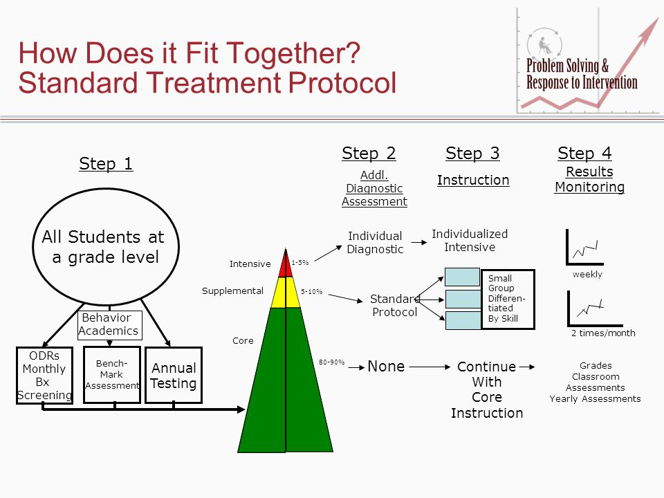How Does it Fit Together? Standard Treatment Protocol Addl. Diagnostic Assessment Instruction Results Monitoring Individual Diagnostic Individualized