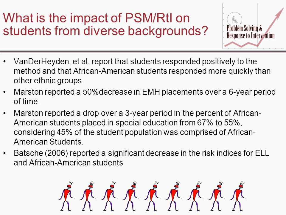 What is the impact of PSM/RtI on students from diverse backgrounds? VanDerHeyden, et al. report that students responded positively to the method and t