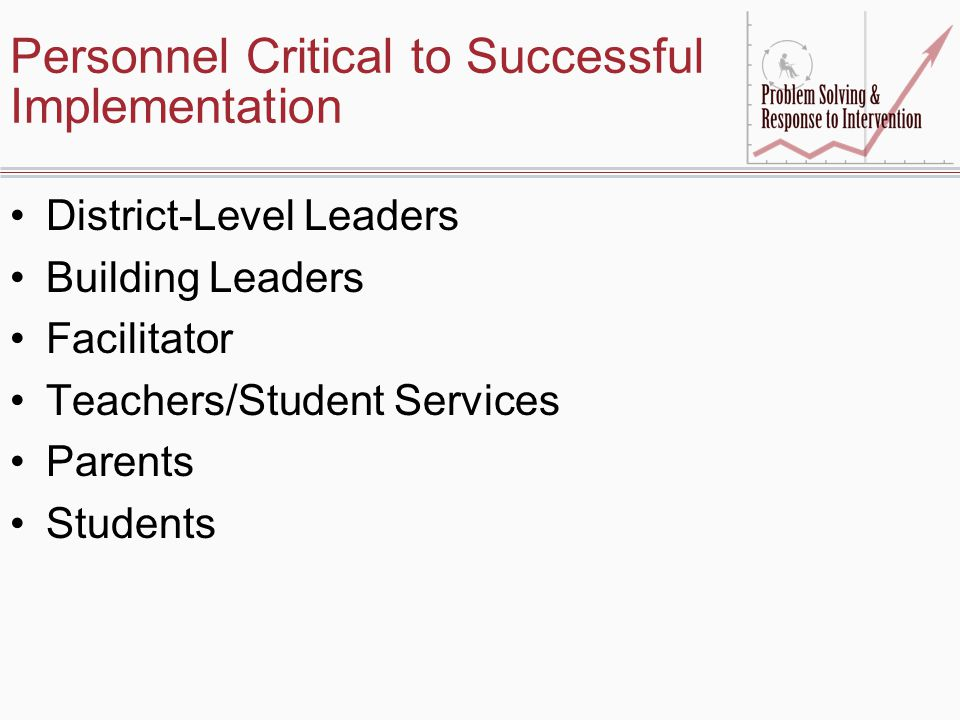 Personnel Critical to Successful Implementation District-Level Leaders Building Leaders Facilitator Teachers/Student Services Parents Students