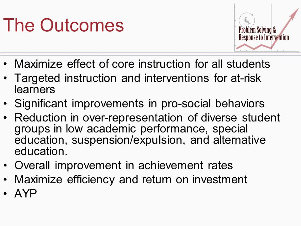 The Outcomes Maximize effect of core instruction for all students Targeted instruction and interventions for at-risk learners Significant improvements