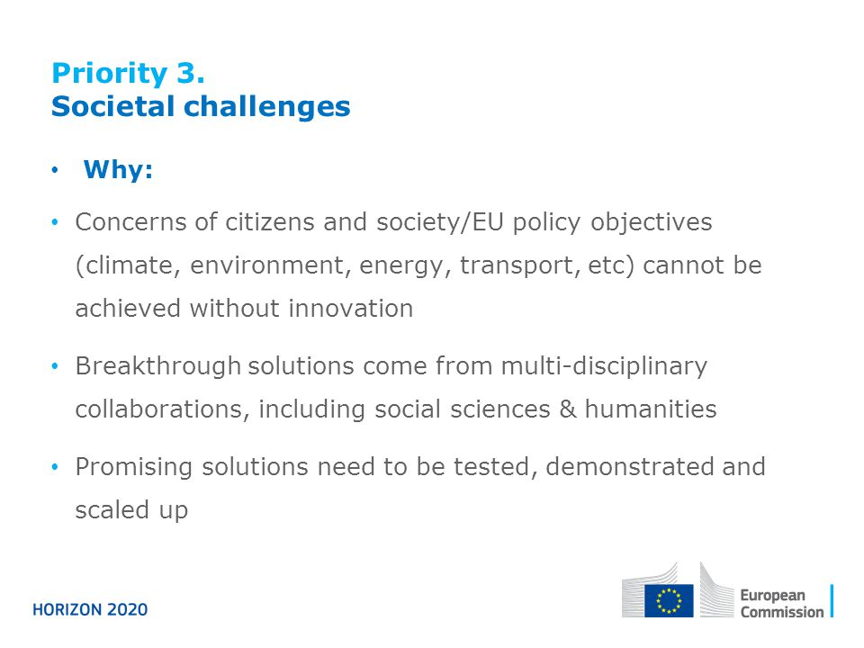 Priority 3. Societal challenges Why: Concerns of citizens and society/EU policy objectives (climate, environment, energy, transport, etc) cannot be ac
