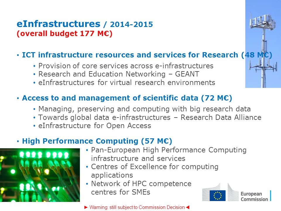 eInfrastructures / 2014-2015 (overall budget 177 M€) ICT infrastructure resources and services for Research (48 M€) Provision of core services across