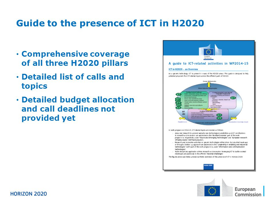 Comprehensive coverage of all three H2020 pillars Detailed list of calls and topics Detailed budget allocation and call deadlines not provided yet Gui