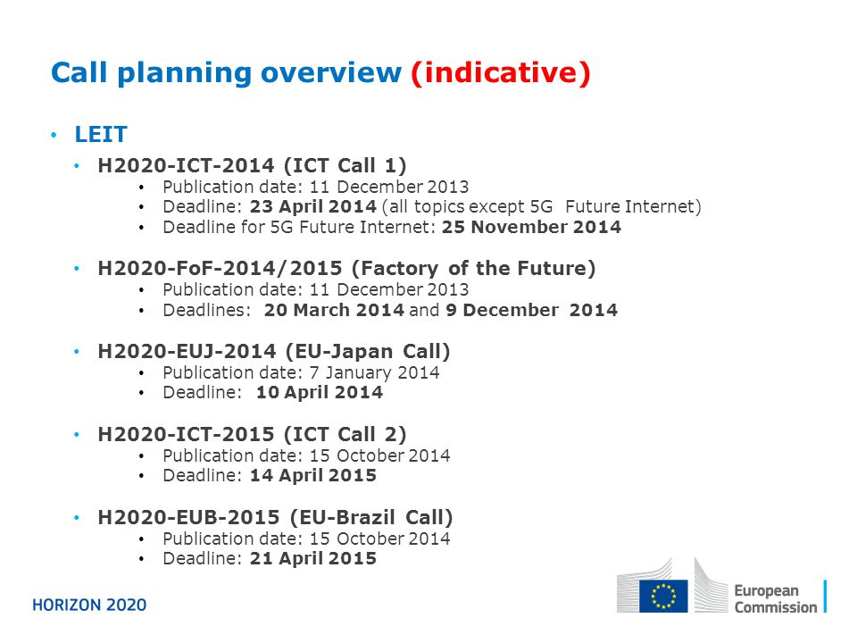 Call planning overview (indicative) LEIT H2020-ICT-2014 (ICT Call 1) Publication date: 11 December 2013 Deadline: 23 April 2014 (all topics except 5G