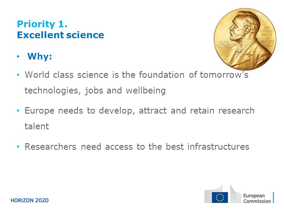 Priority 1. Excellent science Why: World class science is the foundation of tomorrow's technologies, jobs and wellbeing Europe needs to develop, attra
