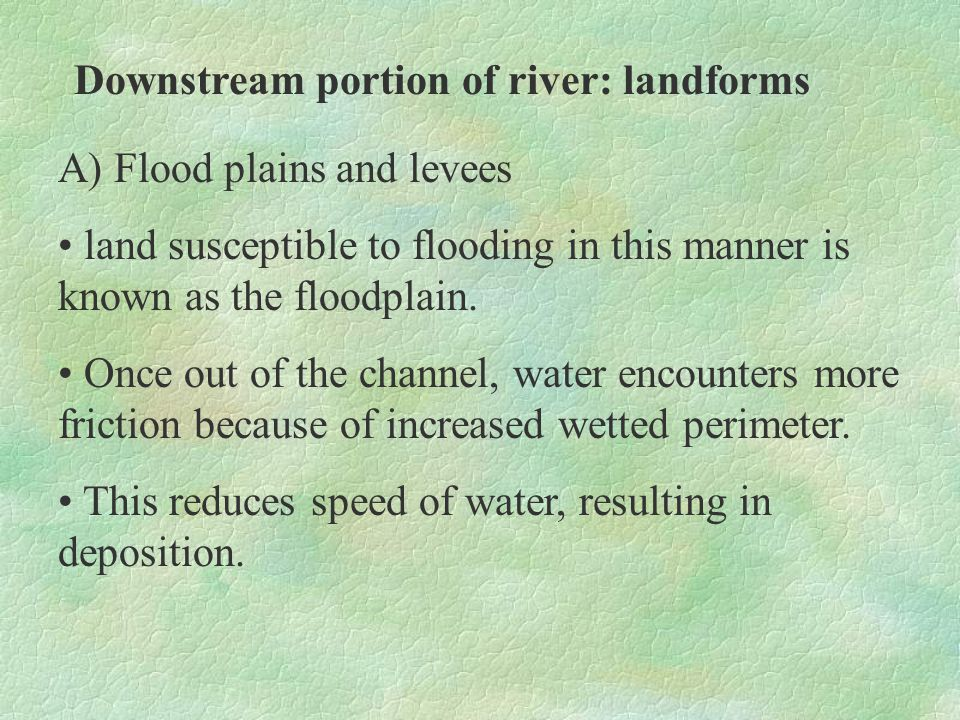 Downstream portion of river: landforms References: Chong, M.