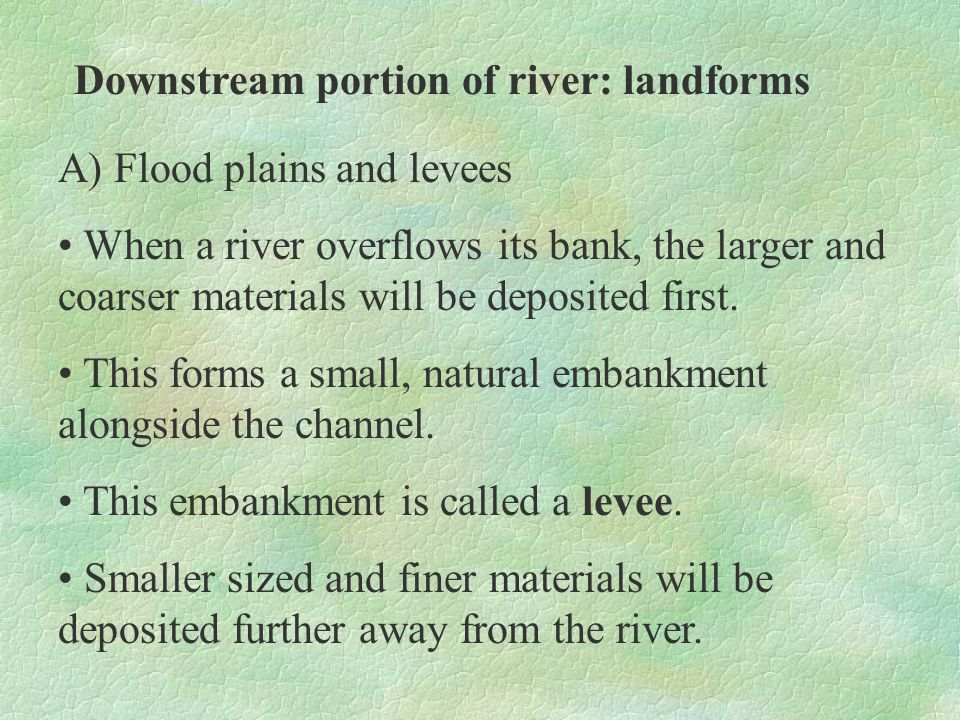 Downstream portion of river: landforms A) Flood plains and levees The thin veneer of silt deposited by each flood increases the fertility of the floodplain.