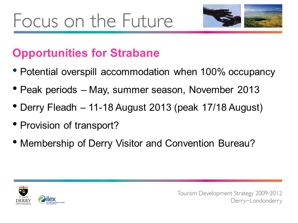 Opportunities for Strabane Potential overspill accommodation when 100% occupancy Peak periods – May, summer season, November 2013 Derry Fleadh – 11-18 August 2013 (peak 17/18 August) Provision of transport.