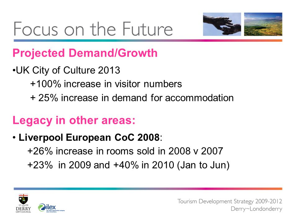 Projected Demand/Growth UK City of Culture 2013 +100% increase in visitor numbers + 25% increase in demand for accommodation Legacy in other areas: Liverpool European CoC 2008: +26% increase in rooms sold in 2008 v 2007 +23% in 2009 and +40% in 2010 (Jan to Jun)