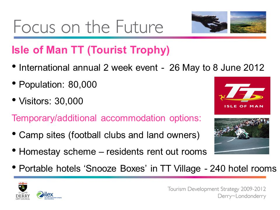 Isle of Man TT (Tourist Trophy) International annual 2 week event - 26 May to 8 June 2012 Population: 80,000 Visitors: 30,000 Temporary/additional accommodation options: Camp sites (football clubs and land owners) Homestay scheme – residents rent out rooms Portable hotels 'Snooze Boxes' in TT Village - 240 hotel rooms