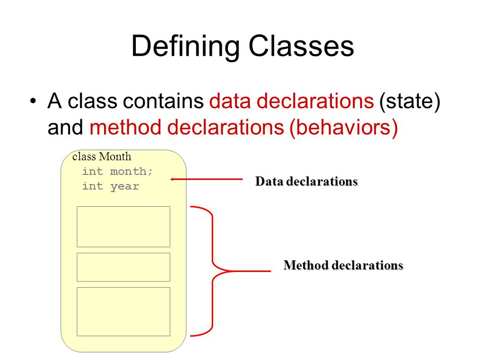 int month; int year class Month Defining Classes A class contains data declarations (state) and method declarations (behaviors) Data declarations Method declarations