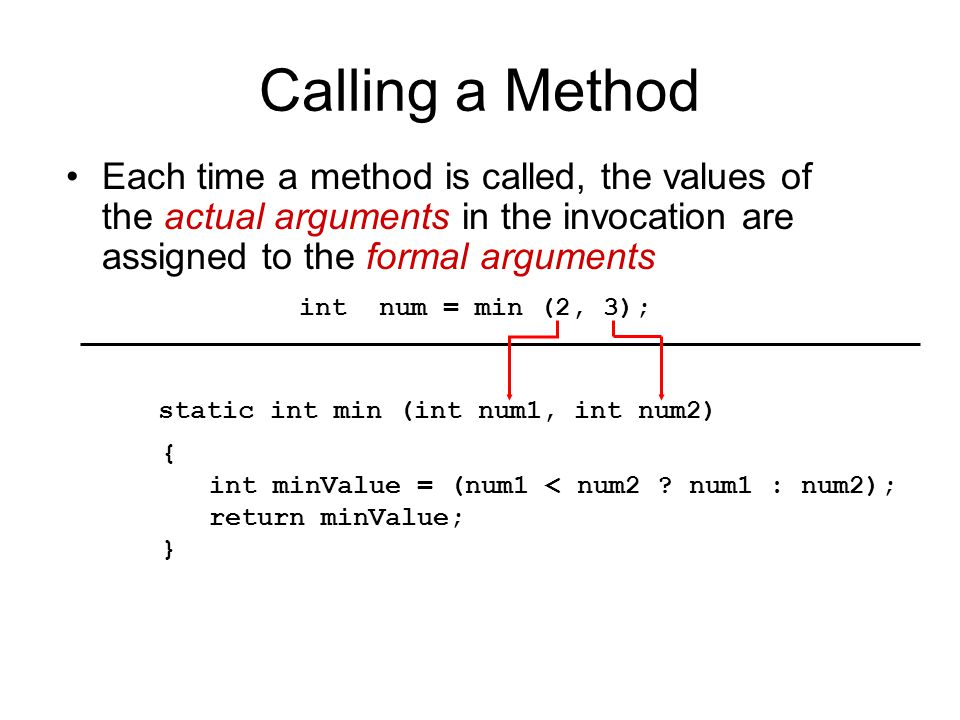 Scope of Variables Instance variables are accessible in all methods of the class formal arguments are valid within their methods Local variables are valid from the point of declaration to the end of the enclosing block public class Box { private int length, width; … public int widen (int extra_width) { private int temp1; size += extra_width; … } public int lenghten (int extra_lenth) { private int temp2; size += extra_length; … } … }