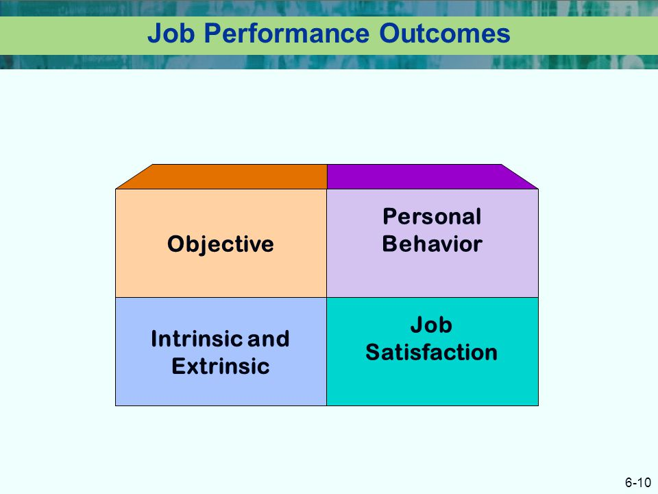 6-10 Job Performance Outcomes Intrinsic and Extrinsic Job Satisfaction Objective Personal Behavior
