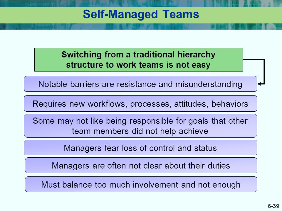 6-39 Self-Managed Teams Switching from a traditional hierarchy structure to work teams is not easy Notable barriers are resistance and misunderstandin