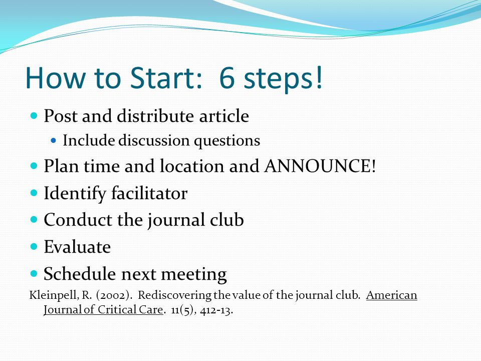 How to Start: 6 steps.