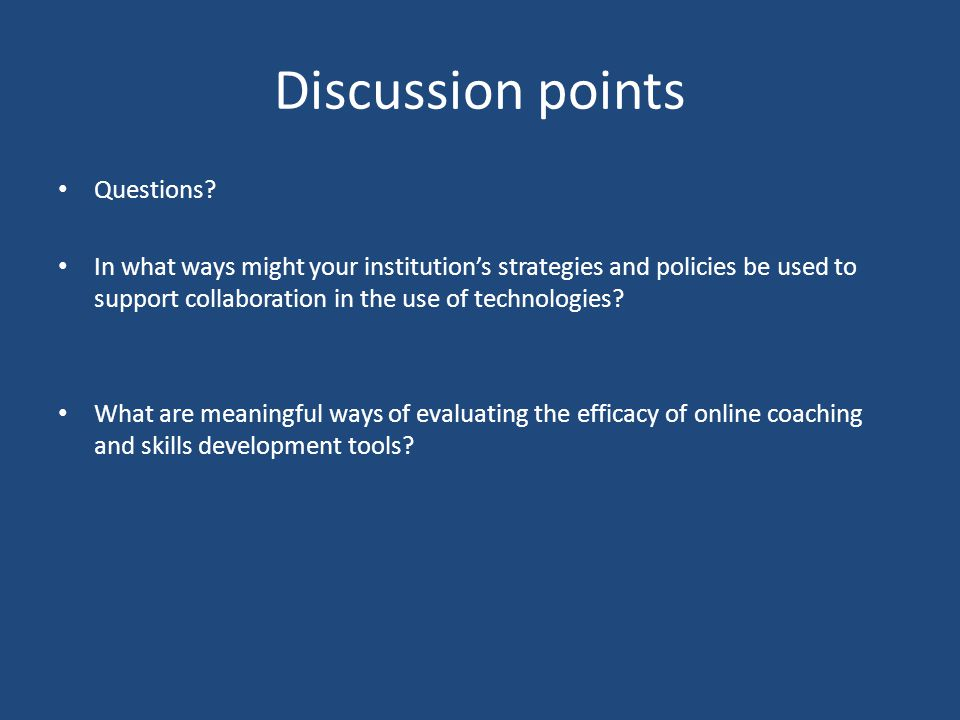 Discussion points Questions.