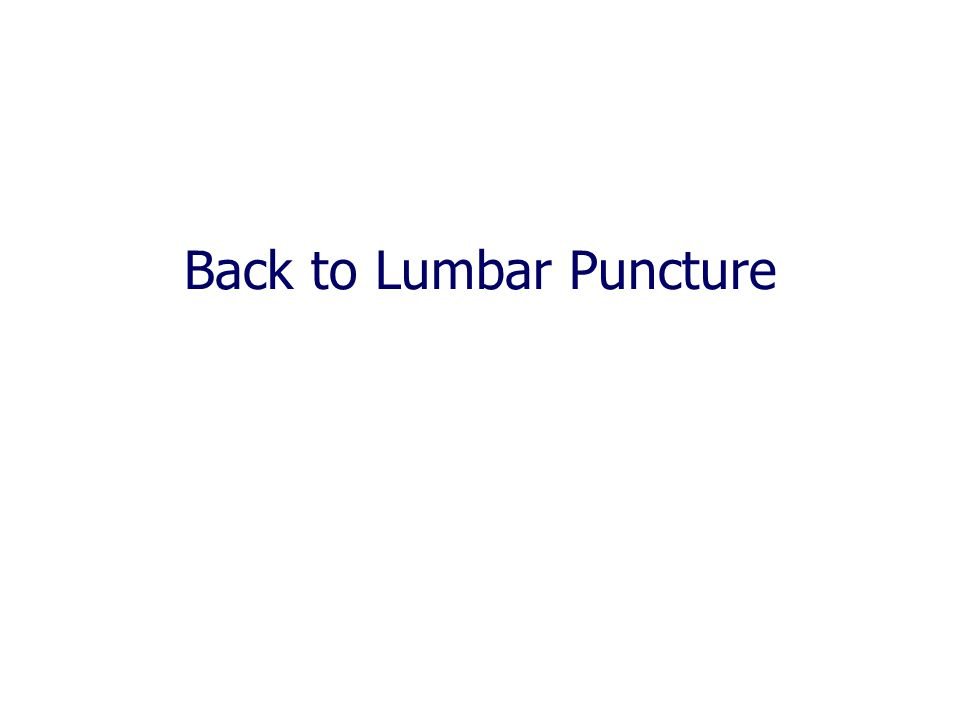 Back to Lumbar Puncture
