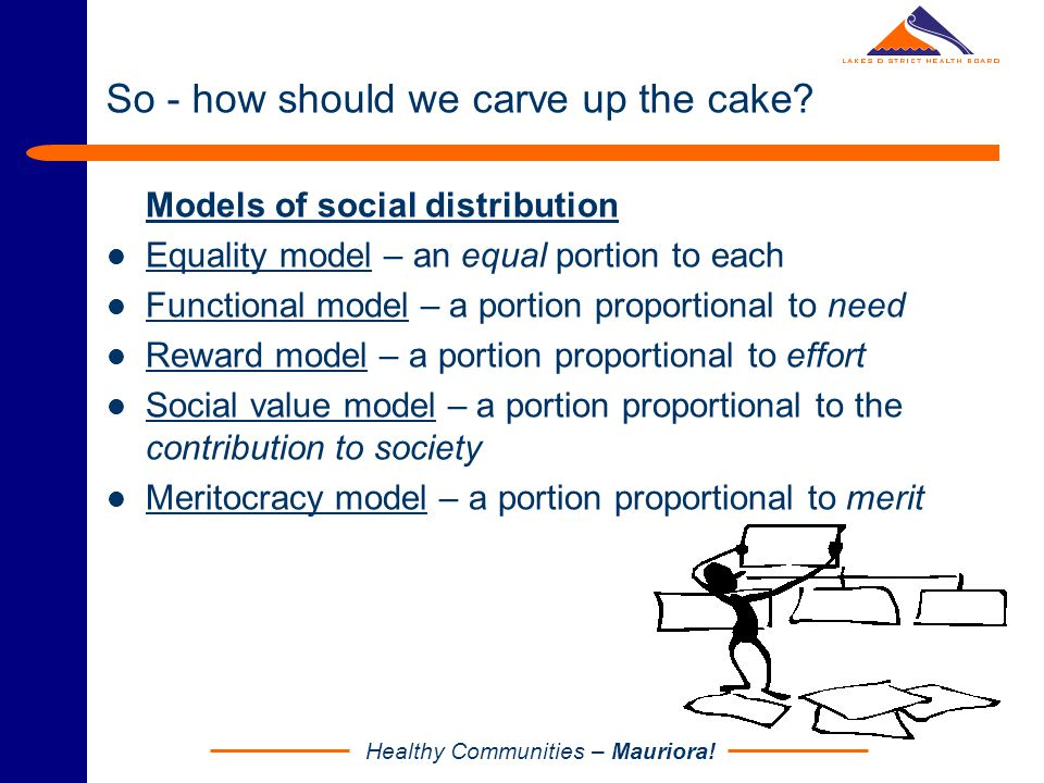 Healthy Communities – Mauriora! So - how should we carve up the cake? Models of social distribution Equality model – an equal portion to each Function