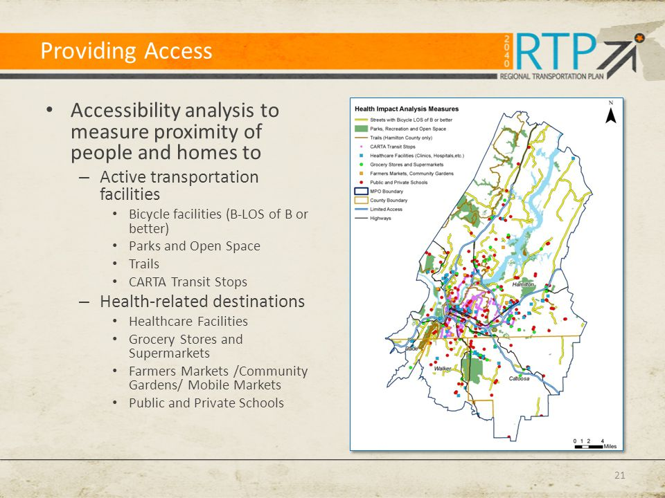 Providing Access Accessibility analysis to measure proximity of people and homes to – Active transportation facilities Bicycle facilities (B-LOS of B or better) Parks and Open Space Trails CARTA Transit Stops – Health-related destinations Healthcare Facilities Grocery Stores and Supermarkets Farmers Markets /Community Gardens/ Mobile Markets Public and Private Schools 21