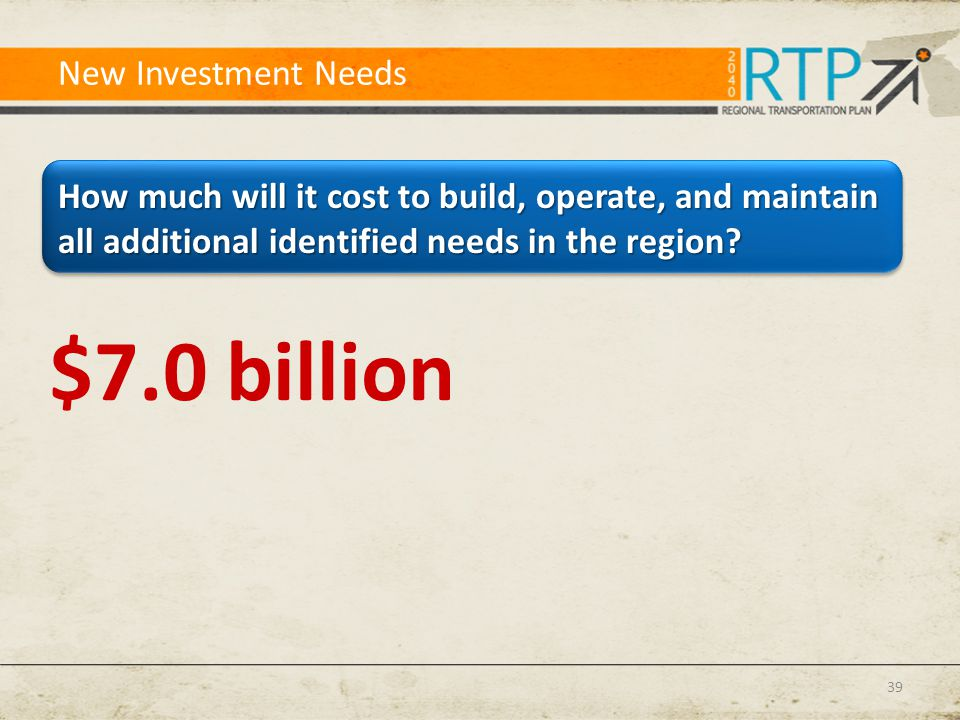 New Investment Needs How much will it cost to build, operate, and maintain all additional identified needs in the region? 39 $7.0 billion