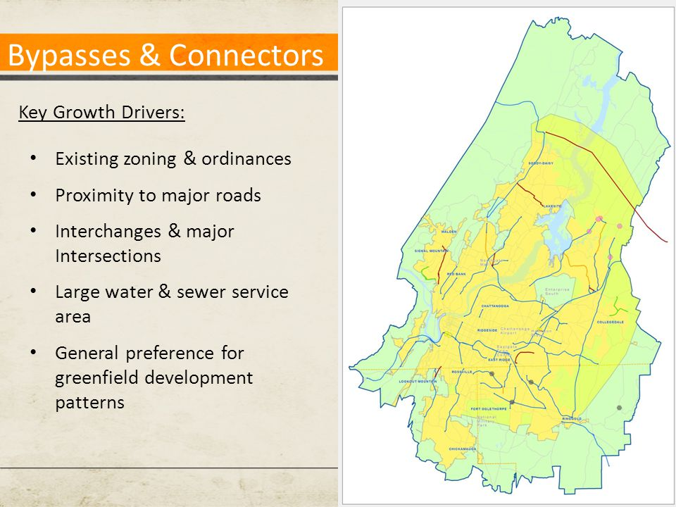 Bypasses & Connectors Key Growth Drivers: Existing zoning & ordinances Proximity to major roads Interchanges & major Intersections Large water & sewer