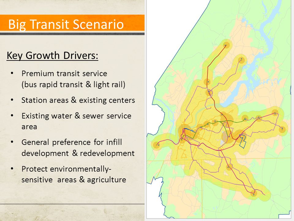Big Transit Scenario Key Growth Drivers: Premium transit service (bus rapid transit & light rail) Station areas & existing centers Existing water & sewer service area General preference for infill development & redevelopment Protect environmentally- sensitive areas & agriculture
