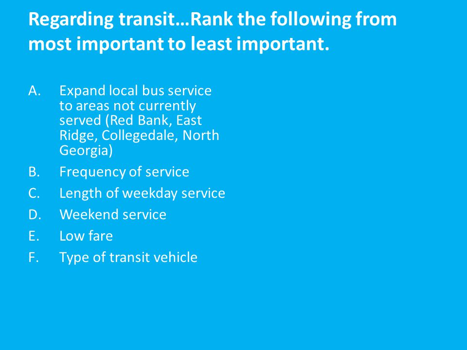 Regarding transit…Rank the following from most important to least important.