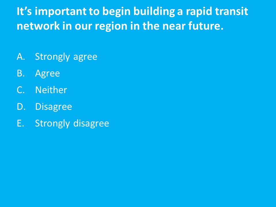 It's important to begin building a rapid transit network in our region in the near future. A.Strongly agree B.Agree C.Neither D.Disagree E.Strongly di