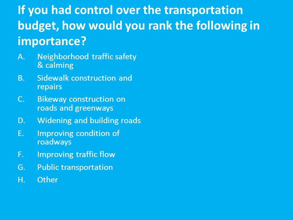 If you had control over the transportation budget, how would you rank the following in importance? A.Neighborhood traffic safety & calming B.Sidewalk