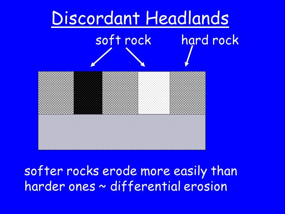 Discordant Headlands soft rockhard rock softer rocks erode more easily than harder ones ~ differential erosion